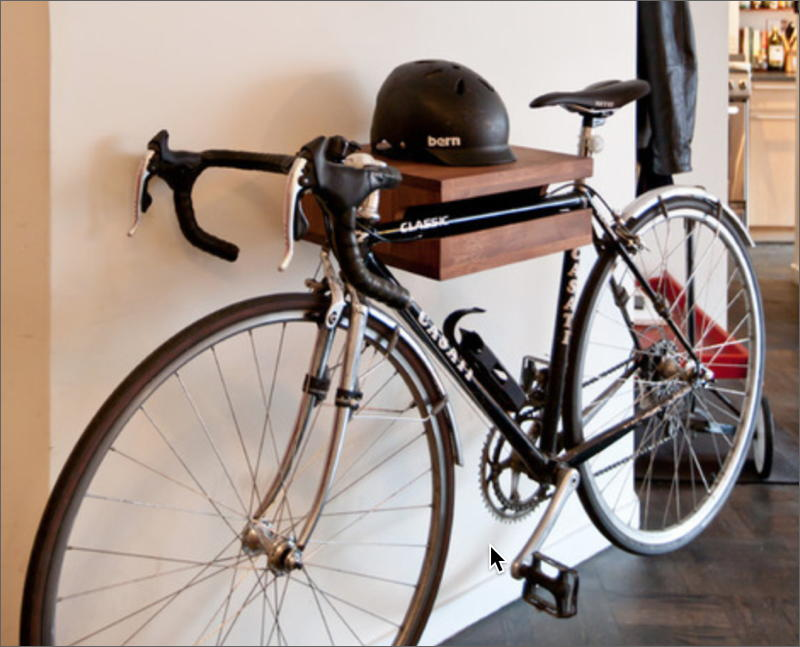 Bike rack on wall